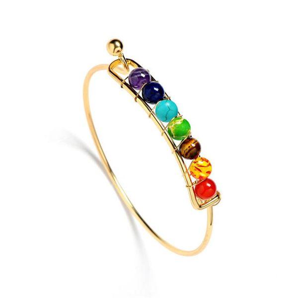 DIEZI India Yoga Muticolor Energy Natural Stone perline 7 Chakra Guarigione Equilibrio Bracciali Braccialetti per donna Uomo Gioielli