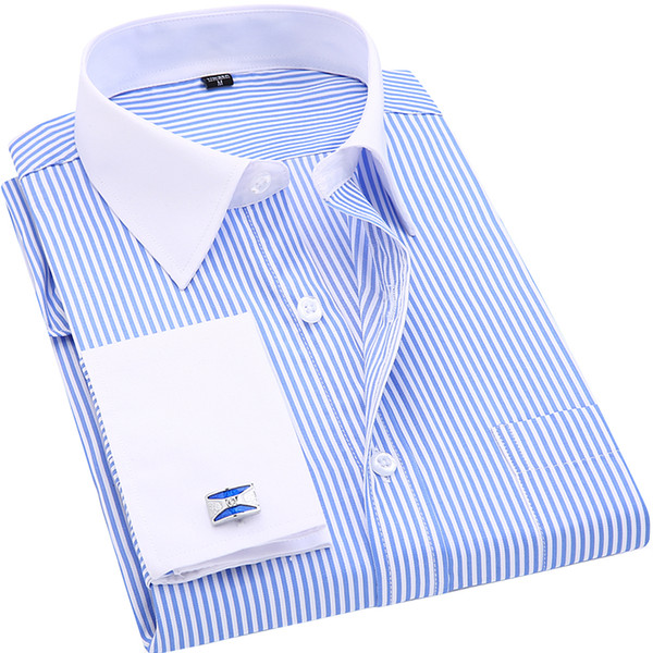Hohe Qualität Gestreifte Männer Französisch Manschettenknöpfe Casual Dress Shirts Langarm Weiß Kragen Design Stil Hochzeit Smoking Hemd