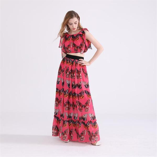 Plus Size Runway Set High Quality Women Clothes Sets Summer Butterfly Printed Top + High Waist Skirt