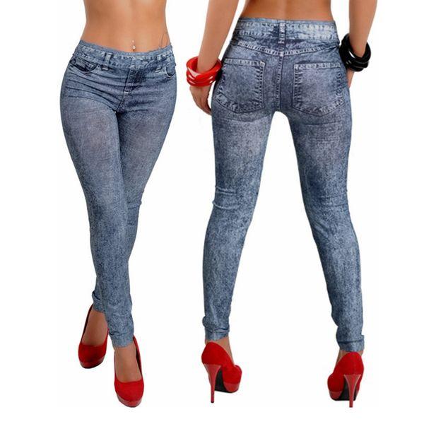 top popular Womens Soft Tights Leggings woman jeans Denim Snowflake Skinny Sexy Pants Slim Stretch Trousers Bottom LJJA3110 2020