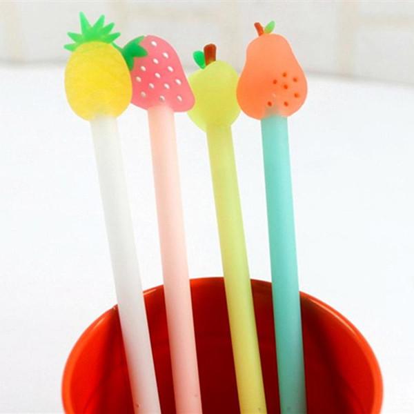 All'ingrosso-Z45 4X Kawaii carino silicone frutta testa penna gel scrittura scrittura penna cancelleria rifornimento scolastico per bambini studente regalo