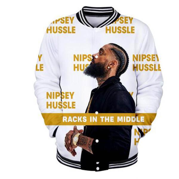 Nuovi arrivi Nipsey Hussle 3D Print Moda giacche da baseball da donna / uomo casual manica lunga Hip Hop Streetwear vestiti da baseball