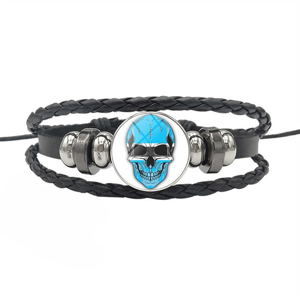 Fashion Genuine Leather Rope Beaded Bracelets for Women Men Botswana National Flag World Time Gem Glass Cabochon Skull Series Button Jewelry