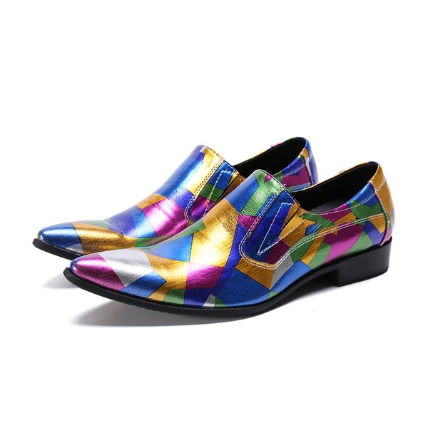 Multicolor Party Wedding Men Dress male paty prom shoes Plus Size Genuine Leather Men Shoes Pointed Toe Brogue Shoes