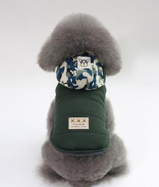 New dog clothes, pet supplies, dog clothes, 18 camouflage hats, cotton-padded clothes in autumn and winter