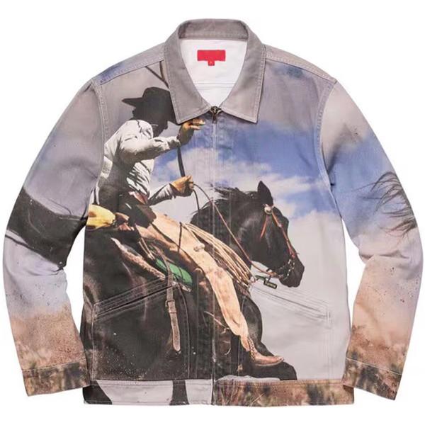 19SS BOÎTE LOGO Course de Chevaux Ouest Cowboy Jeans Veste Imprimer Zipper Casual Rue De Mode Outwear Revers Cou Hommes Femmes Manteau HFHLJK013