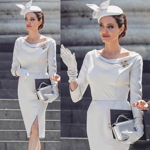 Modest A Line Mother Of The Bride Dresses Side Split Satin Long Sleeve Knee Length Elegant Wedding Guest Dress Mothers Formal Wear