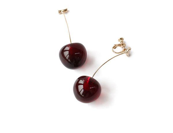 Berry Cherry Designer Eardrop Ear Clip Pendiente de joyería de verano