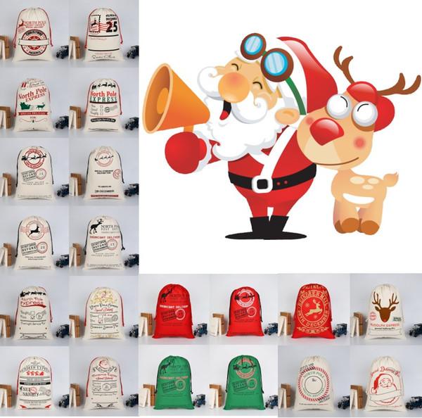 Рождественские подарочные пакеты Органические тяжелые Санта-Холщовый мешок Сумка на шнуровке с оленями Санта-Клаус Дети Рождественские подарочные пакеты