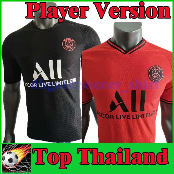 Spielerversion PSG Mbappe Fußballtrikots 2019 2020 Rote Fußballshirts Paris CAVANI VERRATTI Schwarze Fußballtrikots 19 20 Fußballtrikots