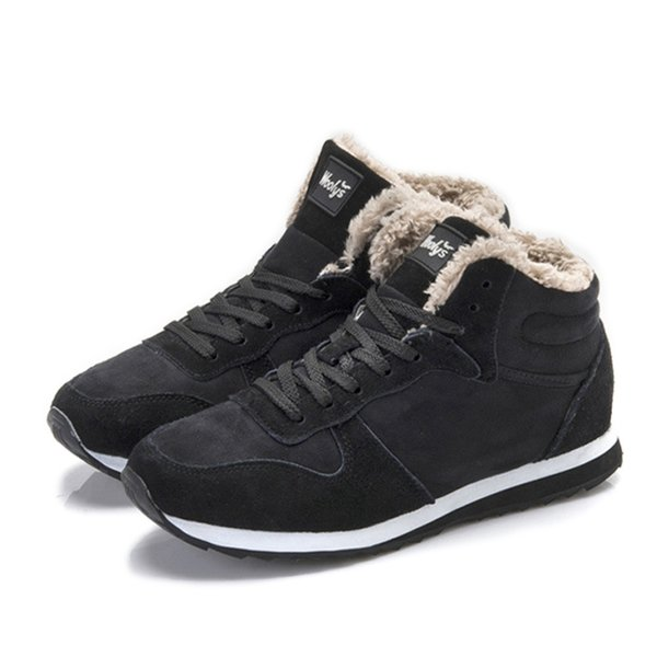 OUDINIAO Tornozelo Homens Botas de Inverno Botas De Pelúcia Sapatos de Inverno de Pele Rendas Até Neve Quente Para Homens Sapatos de Moda Tamanho Grande 39-47 Algodão
