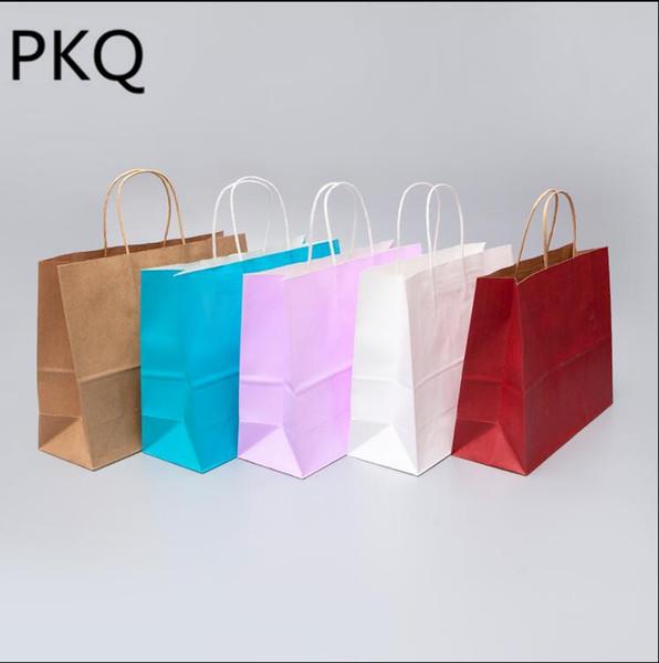 büyük alışveriş torbaları ambalaj kolları Festivali hediye çantası giysi ile 10pcs DIY kraft torba