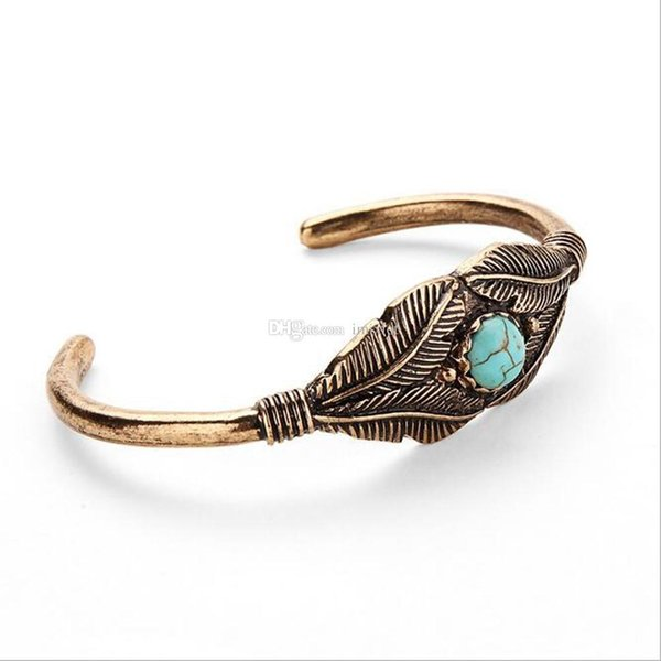 10 Pcs Antique Gold Silver Plated Carve Feather Leaves Turquoise Cuff Bracelet Cuff Bangle For Women Men Vintage Jewelry