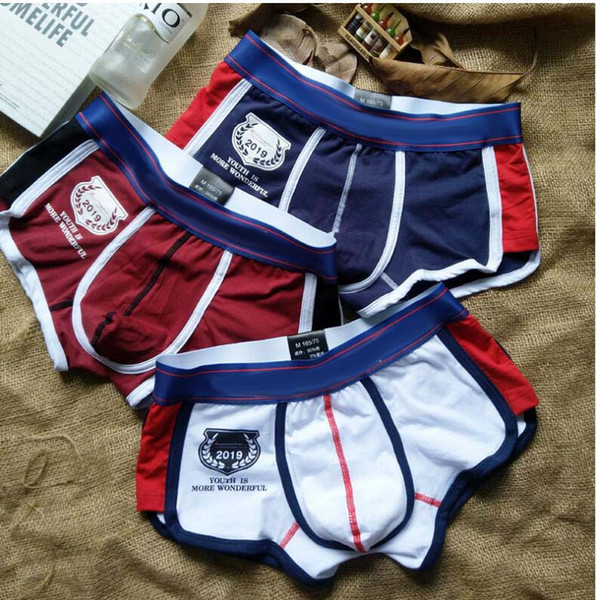 2019 new style Cotton Mens Underwear Boxer Sexy Underpants Brand Soft Breathable Comfortable Fashion Man Boxer Shorts 4COLOR free 1 sock