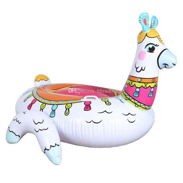 Materasso ad aria gonfiabile per zattera da letto galleggiante gonfiabile in alpaca gonfiabile per bambini 2019 Anello estivo per vacanze estive 150 * 130 * 104 cm C6773