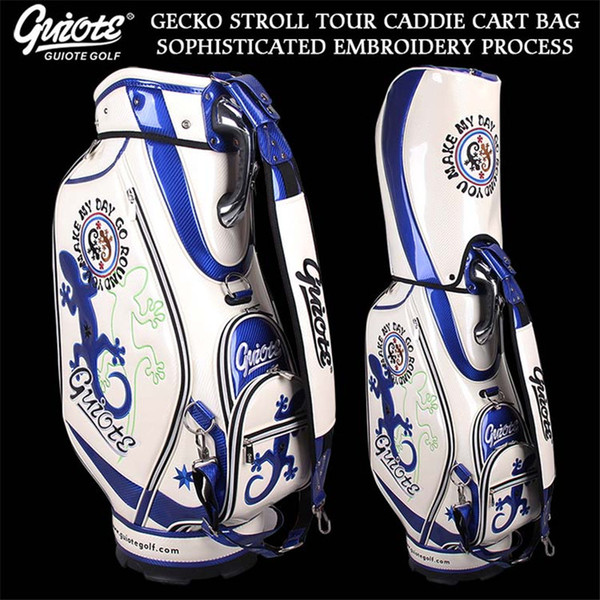 top popular GUIOTE GECKO STROLL Golf Caddie Cart Bag PU Leather Standard Golf Tour Staff Bag With Rain Hood 5-way For Men Women 2019