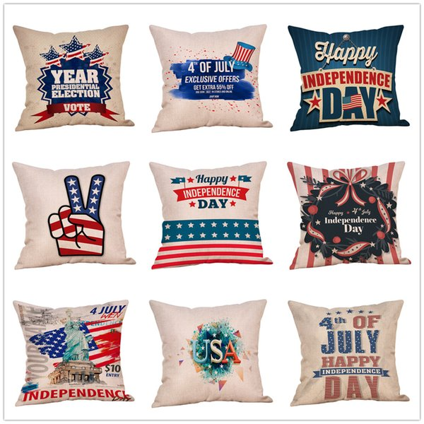American flag Stars Stripe Pillow Case Letter print Pillow Cover 45*45cm Sofa Nap Cushion Covers Home Decoration 51 styles MMA1742