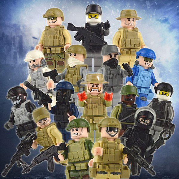 16pcs Lot United States Navy Sea Air and Land Special Forces Navy Seals Military Figure with Weapons Building Block Brick Toy for Boy
