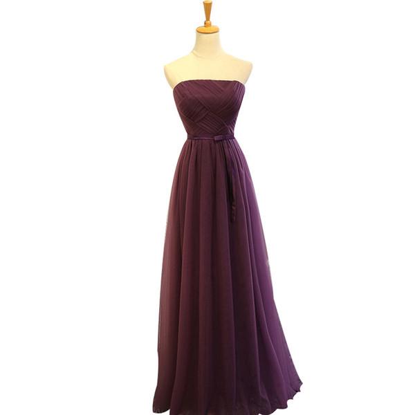 Cheap Purple Bridesmaid Dresses Long Strapless A-line Tulle Sleeveless Floor Length Wedding Party Dress Elegant for Women