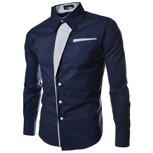 New Aiival Black Man Shirts Long Sleeve Single-breasted Pocket Dress Shirts Men Clothing Patchwork Turn-down Autumn Plus Size M-3XL
