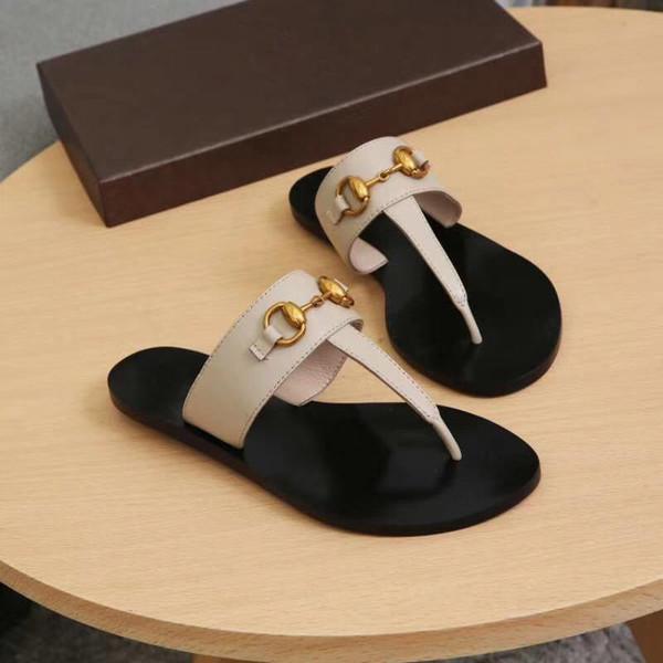 2019 Designer Summer Brand women Flip flops Slipper Luxury Fashion Genuine Leather slides sandals Metal Chain Ladies Casual shoes SZ 36-42