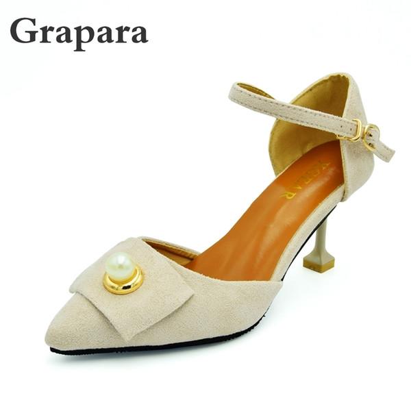 Mujer Zapatos Tacones Altos Atractiva Boda Compre Vestido Bombas De Finos Perlas Poco Punta Profundas wPk80nOX