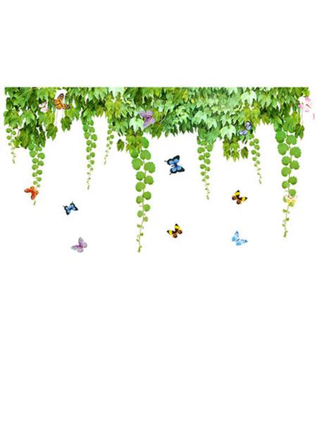 Grüne Blätter Creeper Schmetterling Wandbehang Wandplakat Kunst selbstklebende Wandaufkleber Hintergrund Wandtattoos Wohnkultur