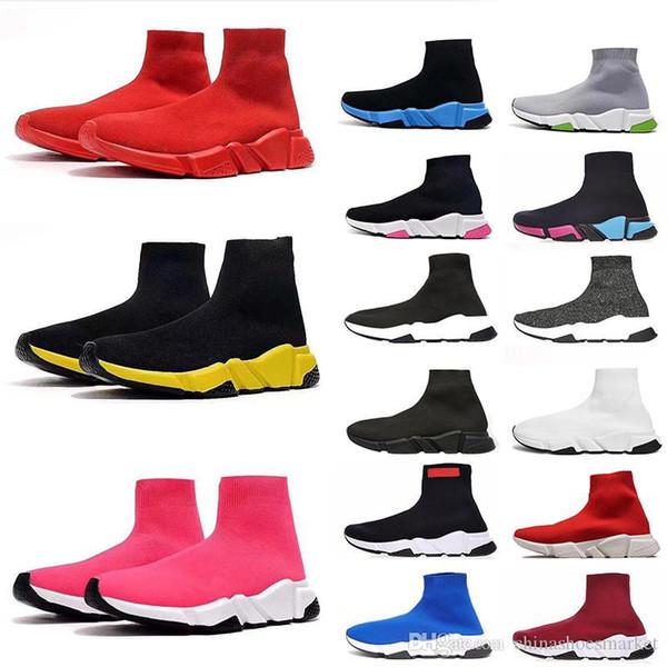 2020 chaussures de chaussettes de marque Vintage pour hommes, femmes baskets mode triple paillettes noir blanc bleu plateforme coureur formateur mens vitesse rose de démarrage