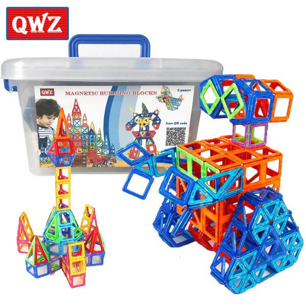 QWZ 110pcs Mini Magnetic Designer Construction Set Model & Building Plastic Magnetic Blocks Educational Toys For Kids Gift T190919