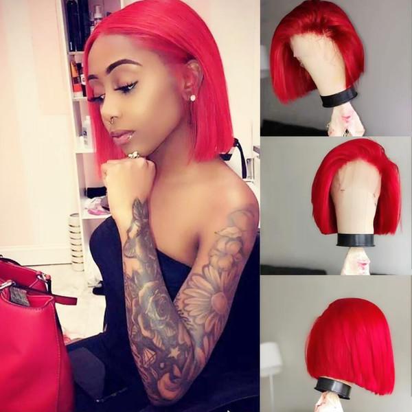 Spedizione gratuita rosso corto bob parrucche di capelli glueless mano legata parrucca anteriore in pizzo sintetico 150% densità resistente al calore fibra cosplay capelli per le donne