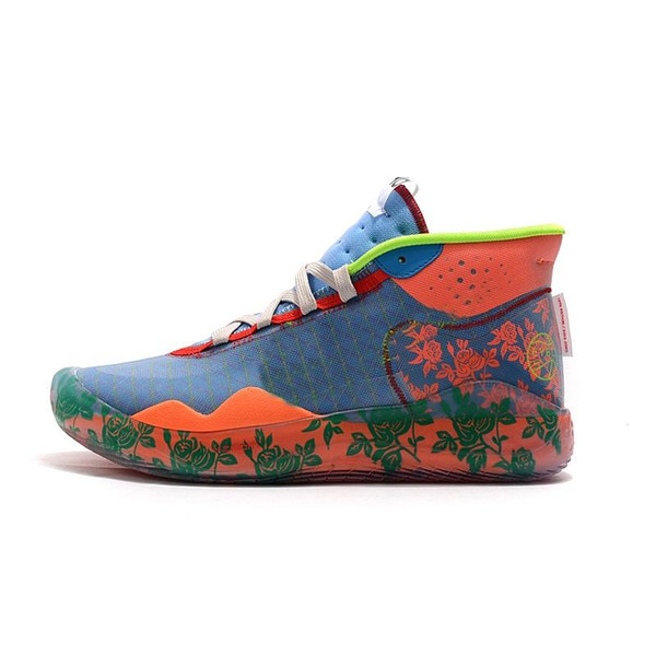 cheap mens kd 12 basketball shoes Floral Flowers MVP Orange Blue Yellow Easter01 new high top kd12 kevin durant xii sneakers boots