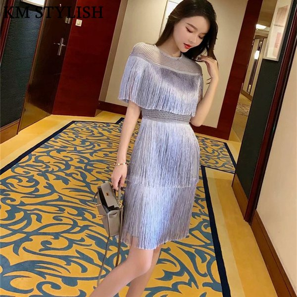 Thailand Tide brand 2019 New Women's Cloak Sleeve Fairy Layer Tassels Stitching Cake Slim Dress Light Grey Color S,M,L