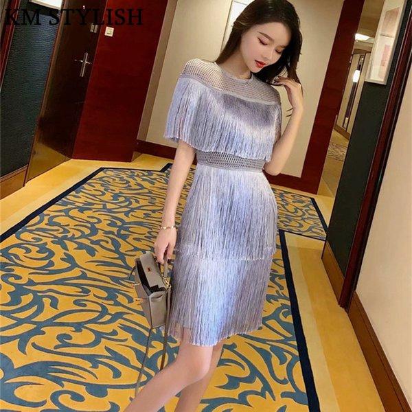 Tailandia marea marca 2019 Nueva capa de las mujeres capa de hadas borlas pastel de costura vestido delgado gris claro Color S, M, L