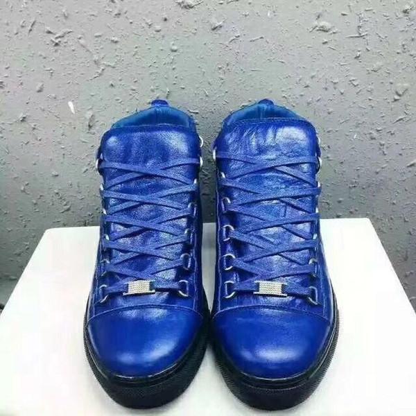 Мужская модная арена Высокого верха бычьей кожи морщин трещины Кожа зашнуровать zapatos hombre Французский стиль кроссовки kanye west Shoes m189602