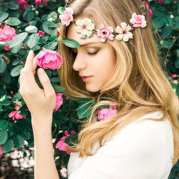 M MISM Flor Corona Banda Para La Cabeza Mujeres Boda Floral Cabeza Guirnalda de dama de honor Nupcial Headpiece Flor Femenina Diadema Tocado