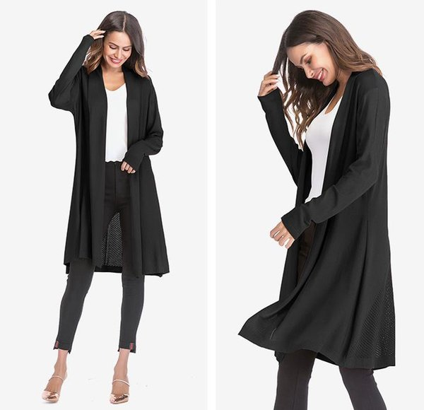 Womens Thin Section Openwork Sweater Coat Fashion Long Sleeve Drape Cardigan Shawl Jacket 4 Color EUR Size M-XL