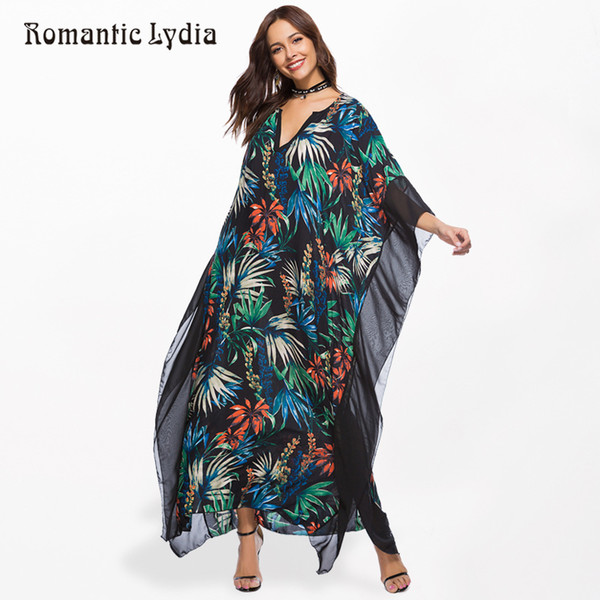 2019 Women Kaftan Long Boho Dress Plus Size Summer Chiffon Loose Robe Femme  Bohemian Maxi Dresses Large Sizes New Arrival 2018 Y19012102 From ...