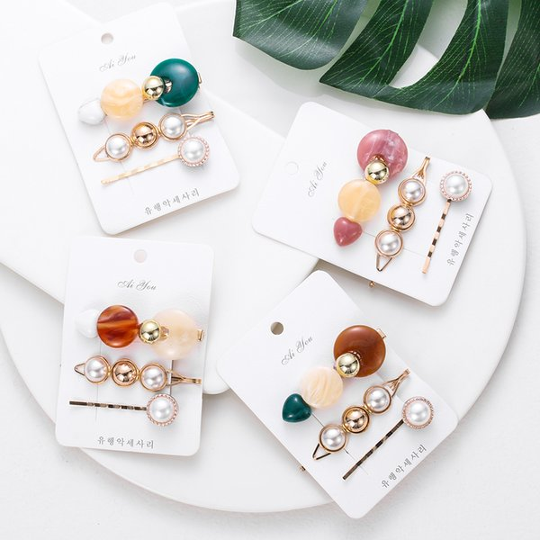 3Pcs/Set Pearls Acrylic Hair Clips Vintage Fashion Women Snap Barrette Button Hairpins Wedding Party Geometric Hair Styling