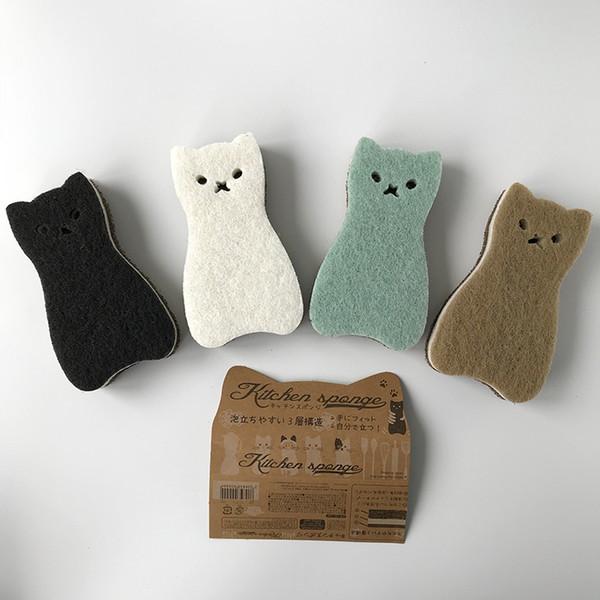 Exportado a Japón 4 piezas súper lindo Kawaii cat Pan esponja fregar el plato paño de limpieza esponja de limpieza Cepillos de limpieza Herramientas de limpieza del hogar