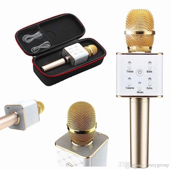 Q7 Magic Karaoke Micrófono Teléfono KTV Player Condensador inalámbrico Bluetooth MIC Altavoz Grabar música para Iphone Android