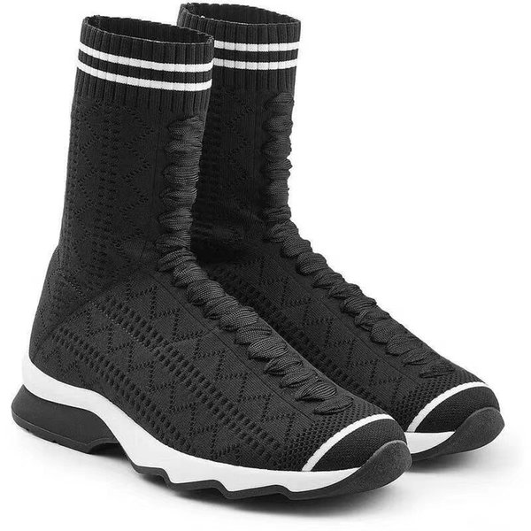 Italian brand fashion show black and white cloth sneaker modern design running shoes hollow body elastic yarn socks boots women's boots high