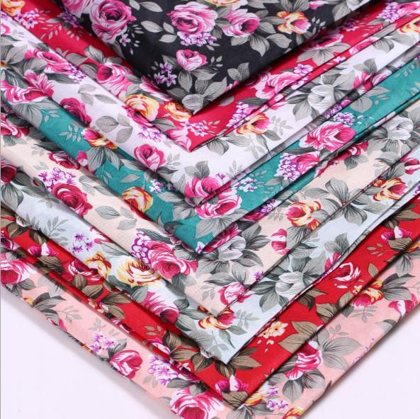 All-polyester Printed Fabric, Rose Floral Flower Fabric Cushion For Leaning On Shabby Chic Vintage Patchwork Craft Cotton Like Sewing