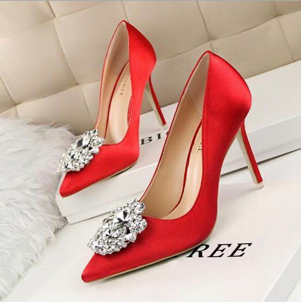Fashion Sexy Women Nightclub Party Sandals Rhinestone Design Stiletto Shallow Mouth Pointed Toe High Heels Ladies Wedding Dress Shoes Pumps