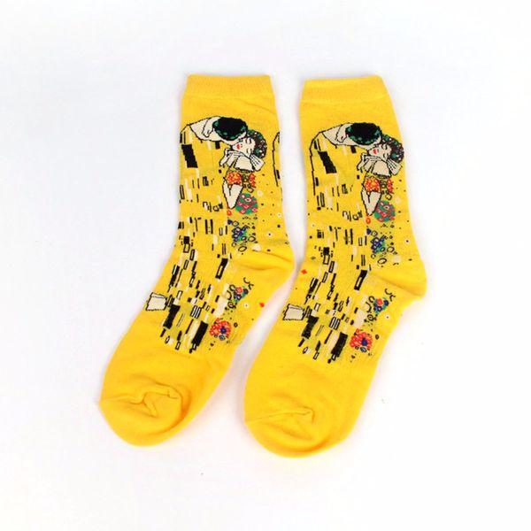Male Socks Oil Funny Sock Van Gogh Mural World Famous Painting Series Fashion Retro Women WZFY New Personality Art Sock Man Summer