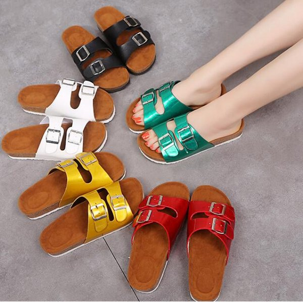 Cork Sandals Solid Flip-flops Slipper Large Size Summer Sandles Beach Antiskid Slippers Buckle Casual Slippers Sandalias Footwear Shoes 5682