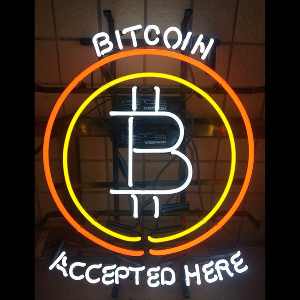 Bitcoin Accepted Here Custom Handmade Real Glass Tube Shop Store Motel Restaurant Pub Paying Advertise Display Neon Light Sign
