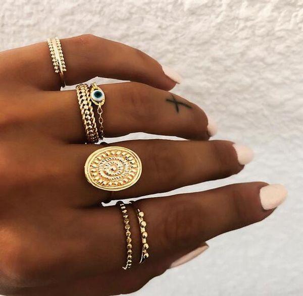 6 pçs / set Bohemian Cor de Ouro Olho Anéis de Flor Definido para As Mulheres Geométrica Liga Knuckle Midi Anéis Boho Jóias