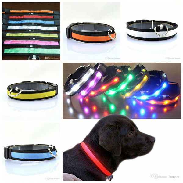 Nylon Night Safety Glow Flashing Light Up Dogs Leash LED Dog Cat Collar Luminous Puppy Necklace Pet Supplies Hot Sale