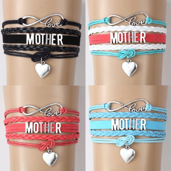 Yeni Anne Mektup Örgülü deri Halat kadınlar Için çözgü bilezikler ANNE Aşk Kalp charm Moda el yapımı Takı anneler Günü hediyesi