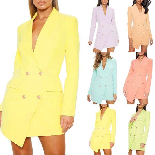 Sólido elegante de doble botonadura vestido de mujer de oficina informal Blazer Dress 2019 otoño invierno traje delgado vestidos de mujer más el tamaño 4XL